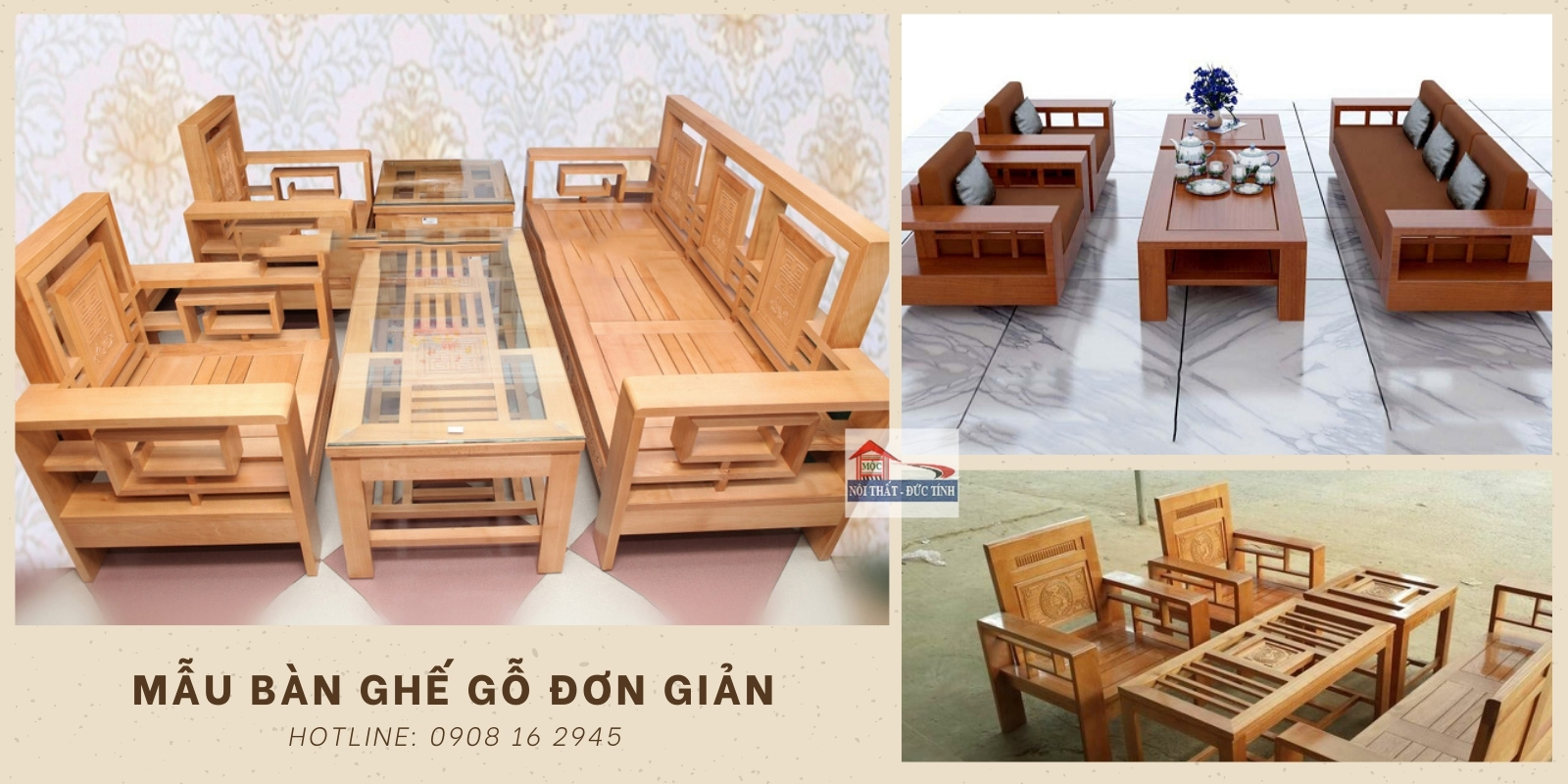 bàn ghế gỗ phòng khách đơn giản
