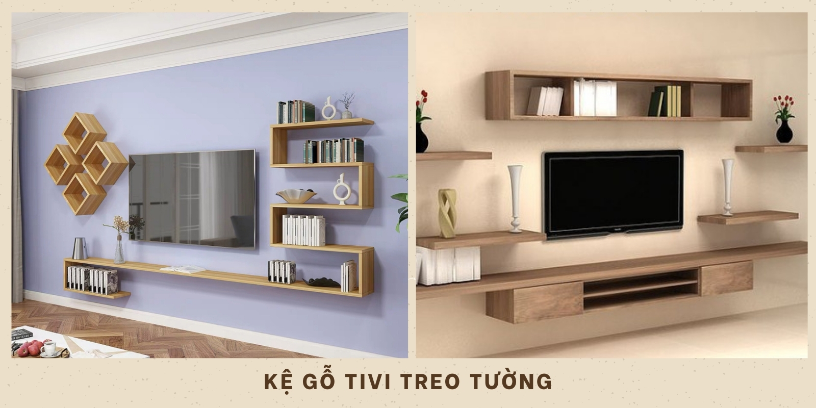 kệ gỗ tivi treo tường